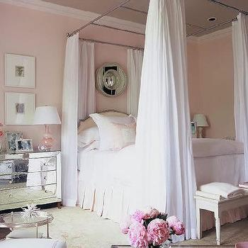 Phoebe Howard - bedrooms - mirrored nightstand, canopy bed, mirror nightstands, mirrored nightstands, mirrored bedside tables, pale pink bedding, pink bedding, bed panels, bed curtains, bed drapery, white and pink bedroom, sophisticated pink girls room,
