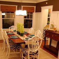 Erin Gates Design - dining rooms - shield back chairs, zebra cushions, white shield back chairs, board and batten, dining room board and batten,