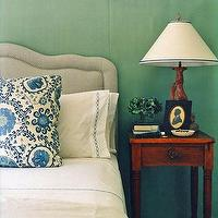 Annsley Interiors - bedrooms - green, blue, gray, upholstered headboard, wood, nightstand, lamp, blue, chain link, stitching, bedding, blue, white, floral, throw pillows, faux tree lamp, green walls, paint color, bedroom,