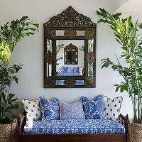 Phoebe Howard - entrances/foyers - blue and white lounging sofa, moroccan mirror, outdoor bench,  Such a fantastically exotic entryway!