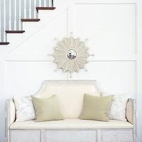 Phoebe Howard - entrances/foyers - ivory, bench, sunburst,  White sunburst mirror and bench