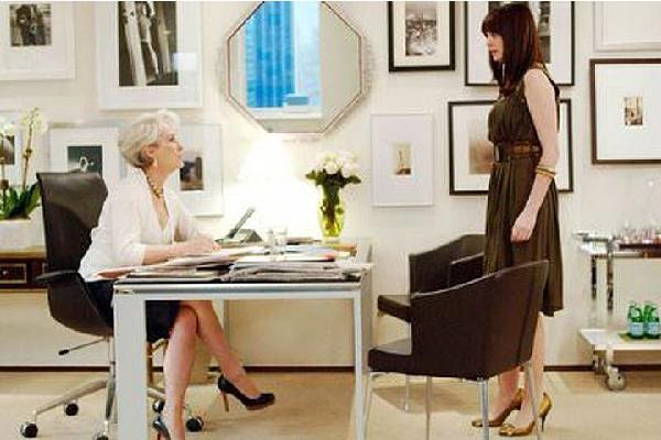 dens/libraries/offices - Wall collage  Devil Wears Prada Wall collage   desk, chair, mirror, photo gallery and bar cart.
