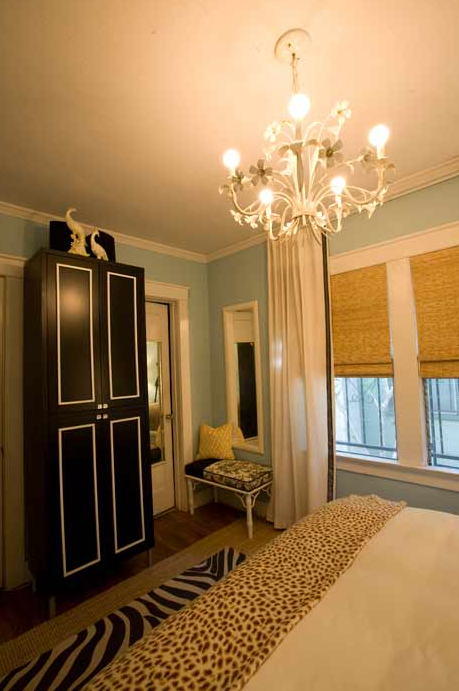 Black and white armoire contemporary bedroom - Black and turquoise bedroom ...