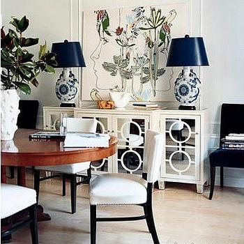 Mirrored Buffet, Contemporary, dining room, Domino Magazine