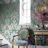 Thibaut Design - entrances/foyers - metallic wallpaper, damask wallpaper, damask metallic wallpaper, metallic damask wallpaper, turquoise blue wallpaper, turquoise metallic wallpaper, blue and gold wallpaper, blue and gold metallic wallpaper,