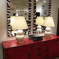 entrances/foyers - console. gourd, lamps, zebra mirror,  eclectic mix  red asian cabinet, white gourd lamps and zebra mirrors