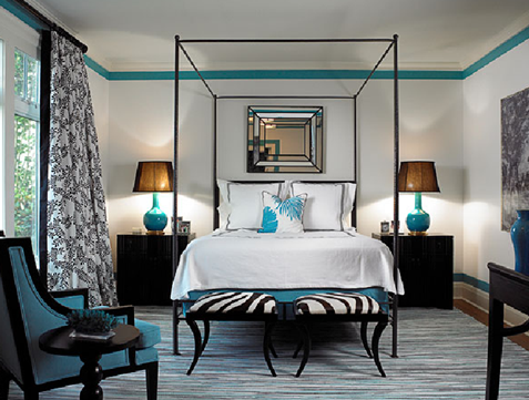 Kim Coleman Interiors - bedrooms - zebra print stools, black, white, turquoise, canopy bed, beveled mirror, painted stripe,  Love the pops of