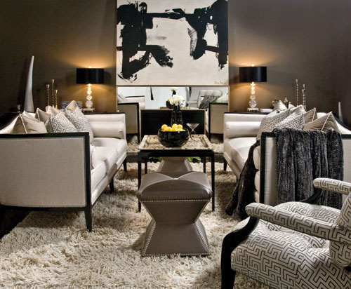 living rooms - sofa Greek key art ottoman flokati rug  Ferguson Copeland sutton place sofa.    Greek key chair.  Lovely colors.  Beautiful Drama