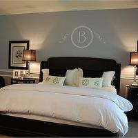 bedrooms - brown headboard, blue, master bedroom,  Bedroom  We have a dark headboard like this.  Currently the room is painted dark caramel and
