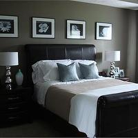 bedrooms - Brown headboard, brown, master bedroom,  Dark Headboard, I love the crisp linens. The two side tables are staged beautifully.  I like