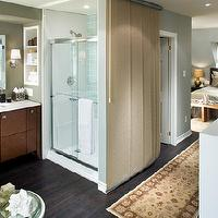 bedrooms - ensuite, bedroom, blue, shower, bathroom,  I love the openess of the bedroom and the ensuite.  Again you can see the pale blue I'm