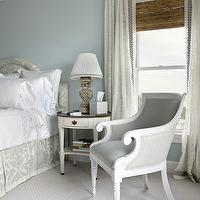 bedrooms - blue, curtains, drapes,  Bedroom  Ceiling height drapes and blue master bedroom wall.