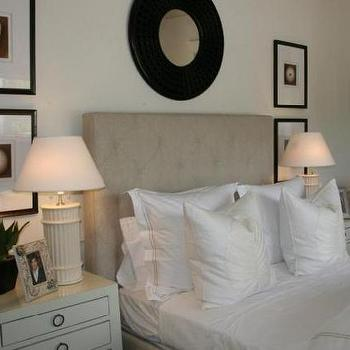 Phoebe Howard - bedrooms - tufted headboard, beige tufted headboard, faux bamboo lamps, bamboo lamps, white bamboo lamps, jacqui nightstands, bungalow 5 nightstands, art over nightstand, lacquered nightstand, white lacquered nightstand, Jacqui Chest, William Table Lamp,