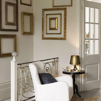 entrances/foyers - gold gilt frames, white chair, gold, gray, entrance, foyer, empty frames, gold empty frames, gilt empty frames,  Love the