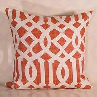 Pillows - Handmade Housewares on Etsy - Mandarin Imperial Trellis Pillow by decorativeinstincts - Imperial Trellis tangerine pillow