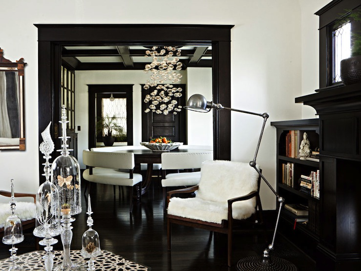 Jessica Helgerson Interior Design - living rooms - black, white, dark, espresso, wood floors, brown, wood, accent, chair, black, painted, fireplace, black, door, molding, ornate, mirror, black, built-ins, bookshelves, doily, white walls, paint color, living room,