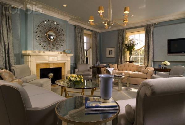 living rooms - blue, walls, silver, drapes, venetian, chandelier, starburst, mirror, grey, sofa, mirrored, table,  living room  blue walls, silver