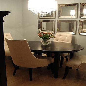 Small and Chic Home - dining rooms - Benjamin Moore - Smoke - oval dining table, tufted dining chairs, beveled mirrors,  The chairs were custom