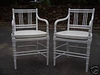 PAIR HOLLYWOOD REGENCY FAUX BAMBOO ARM CHAIR EAMES ERA, eBay (item 360150891513 end time May-04-09 17:00:02 PDT)