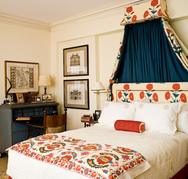 gypsyjessy: bedrooms - bedroom orange suzani  Sara Gilbane Designed Bedroom  royal blue drapes and floral headboard