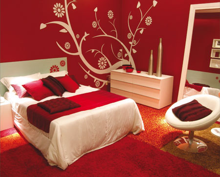 bedrooms - bed, chairs, pillows, red, white, art paint, Red Bedroom