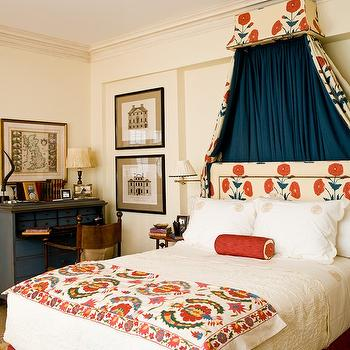 Sara Gilbane Interiors - bedrooms - bed canopy,  Royal blue drapes and floral headboard