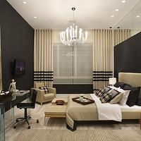 bedrooms - bed, lamps, black walls, chairs,  Black! Chic!!!  ivory and black drapes, ivory wingback headboard and black walls