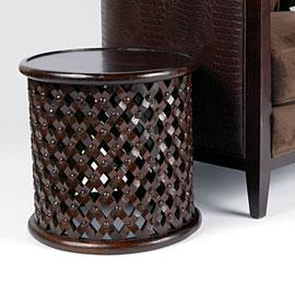 Tables - Z Gallerie - Carved Mango Wood Stool - Espresso - mango stool