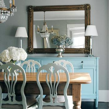 Morgan Harrison Home - dining rooms - side board, sideboard cabinet, turquoise sideboard, turquoise blue sideboard, turquoise sideboard cabinet, gilt mirror, farmhouse table, farmhouse dining table,