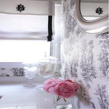 Carla Lane Interiors - bathrooms - roman shades, black and white roman shades, white and black roman shades, toile wallpaper, black and white toile wallpaper, grosgrain roman shade, monogrammed roman shade, beaded mirror,