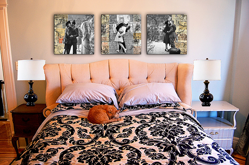 1940s art over the bed