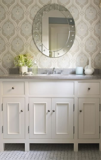 Blue And Gray Wallpaper Traditional Bathroom James