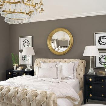 Veranda - bedrooms - tufted, ivory, sleigh, bed, charcoal, gray, walls, gold, mirror, black, nightstand, chandelier,  Amazing tufted goodness!!