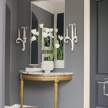 entrances/foyers - small entry, console table, half moon console table, foyer table, gold half moon table,  cool small entry  slate gray walls