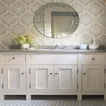 Blue and Gray Wallpaper, Traditional, bathroom, James Michael Howard