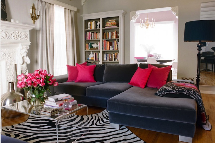 living rooms - CB2 Peekaboo Clear Coffee Table blue velvet sectional pink velvet pillows zebra  Great Girls Lounge Inspiration.   blue velvet