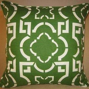Pillows - Pillow Pagoda - green, white pillow,