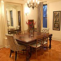 Brooklyn Limestone - dining rooms - damask dining chairs, blue damask chairs, blue damask dining chairs, parquet wood floors, gray silk curtains, restoration hardware dining chairs, Restoration Hardware Martine Chair,