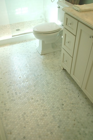 White Carrera Marble Hex Tiles Transitional Bathroom