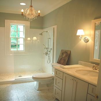 Lori Tippins Interiors - bathrooms - carrera marble, carrera marble countertop, white carrera marble, white carrera marble hex tiles, white carrera marble hex floor, , shower partition, glass shower partition, White Carrera Hexagon Marble Tiles,