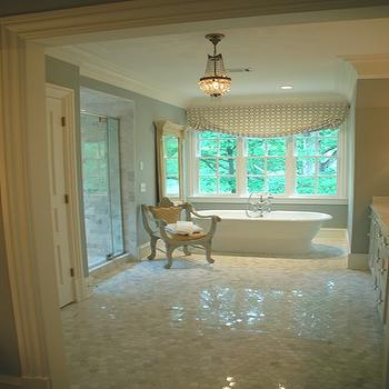 Marble Hex Floor, Traditional, bathroom, Farrow & Ball Light Blue, Lori Tippins Interiors