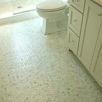 Lori Tippins Interiors - bathrooms - white carrera marble, white carrera marble hex tiles, white carrera marble hex floor, , White Carrera Hexagon Marble Tiles,