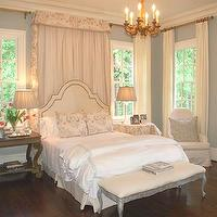 Lori Tippins Interiors - bedrooms - french nightstands, mismatched nightstands, mismatched bedside tables, curtains behind bed, drapes behind bed, curtains behind headboard, drapes behind headboard,