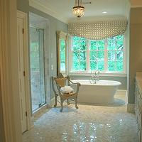 Lori Tippins Interiors - bathrooms - white carrera marble, white carrera marble hex tiles, white carrera marble hex floor, , marble hex floor, marble hex tiles, Polished White Carra Marble Hexagon Marble Tiles,