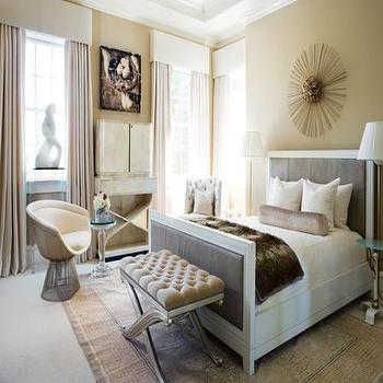 Scott Laslie - bedrooms - x bench, tufted x bench, bedroom bench, gray bed, upholstered bed, gray upholstered bed, valance,  Sunburst, tufted