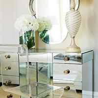 Atlanta Homes & Lifestyles - bedrooms - mirrored vanity, lucite chair,  Mirrored vanity desk and lucite acrylic z chair.