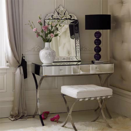 bedrooms - barcelona mirrored vanity, mirrored vanity, barcelona vanity table,  Modern vanity table  black, lamp, mirrored, vanity, white tufted