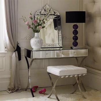 bedrooms: barcelona mirrored vanity, mirrored vanity, barcelona vanity table, mirrored make up vanity, barcelona stool, venetian mirror,  Modern