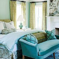 Barrie Benson - bedrooms - turquoise sofa, turquoise velvet sofa, turquoise blue sofa, turquoise blue velvet sofa, bedroom sofa, bedroom couch, trellis curtains, trellis drapes, citrine imperial trellis, bedroom fireplace, scalloped duvet, , Imperial Trellis Fabric,