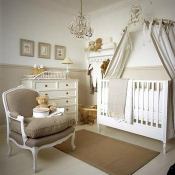 nurseries - latte colors, gender neutral nursery, crib canopy, bergere chair, brown bergere chair, chair rail, nursery chair rail,  serene gender